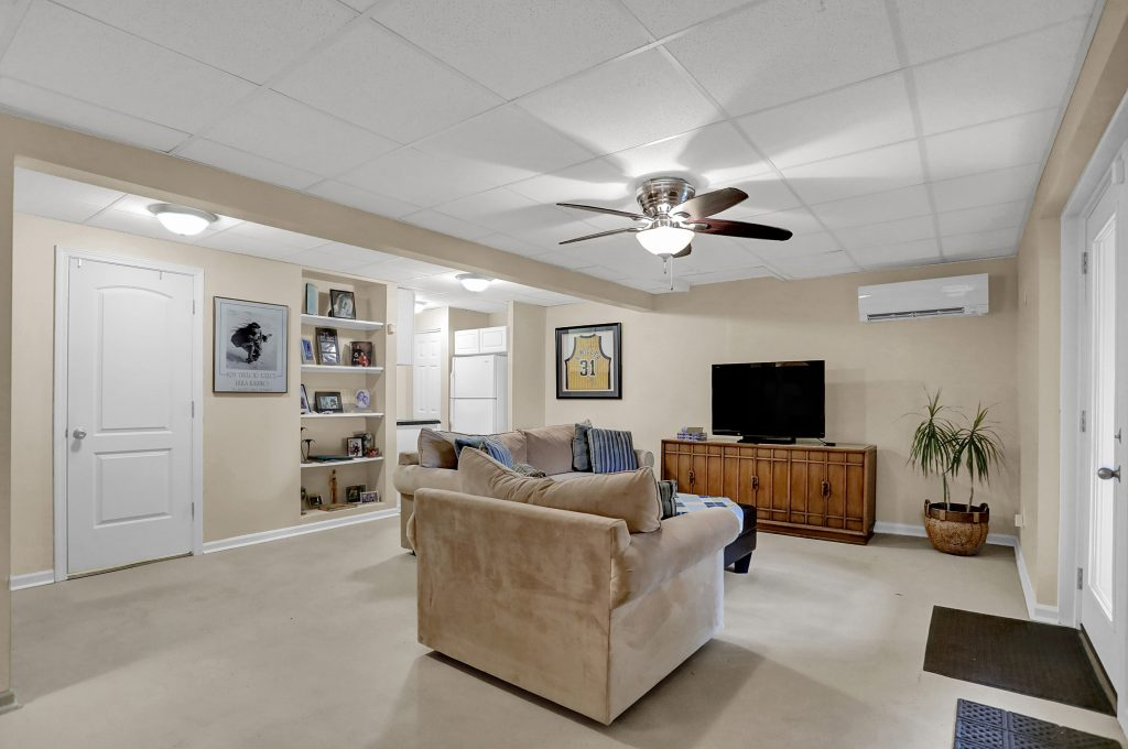 Walkout basement has separate heating/cooling ductless split.