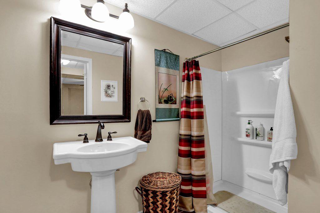 Full bath on lower level.