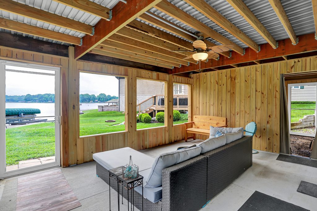 Screened porch on lower level is 18x13.